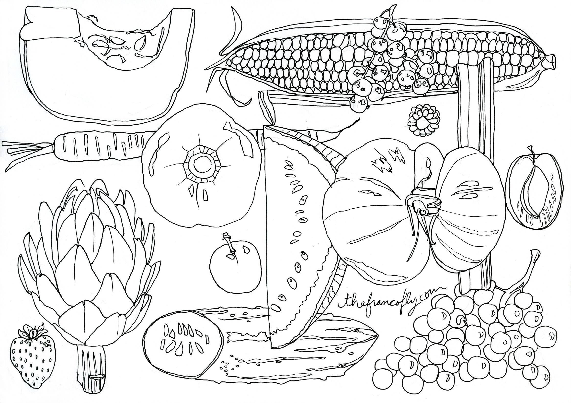 Coloring book pictures of vegetables - Jessie Kanelos Weiner Color Me Seasonal September Thefrancofly Com